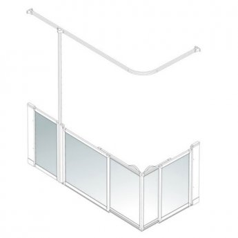 AKW Option SX Sliding Shower Screen, 1700-1800mm x 700-820mm, Left Handed