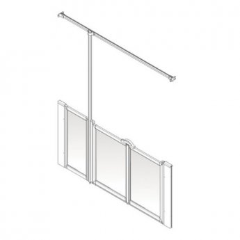AKW Option U 900 Shower Screen, 1300mm Wide, Left Handed