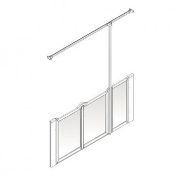 AKW Option U 900 Shower Screen, 1350mm Wide, Right Handed