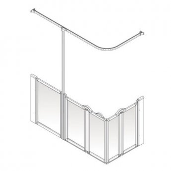 AKW Option X 750 Shower Screen, 1420mm x 700mm, Left Handed