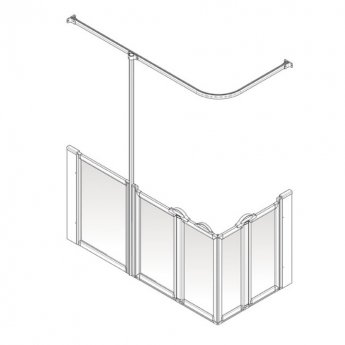 AKW Option X 900 Shower Screen 1300mm x 700mm - Left Handed