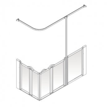 AKW Option X 900 Shower Screen 1200mm x 700mm - Right Handed