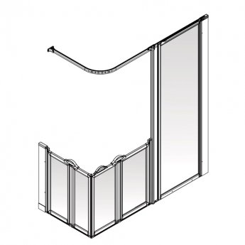AKW Option XF 900 Shower Screen 1800mm x 700mm - Right Handed