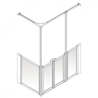 AKW Option Y 900 Shower Screen, 1420mm x 820mm, Right Handed