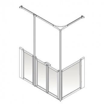AKW Option Y 900 Shower Screen 1420mm x 700mm - LH Silverdale Frosted