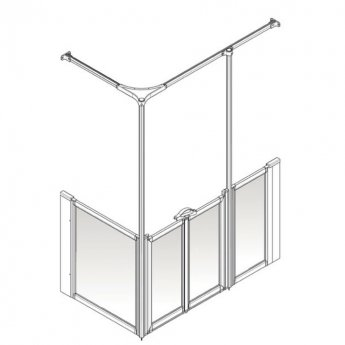 AKW Option Y 750 Shower Screen 1350mm x 750mm - Right Handed