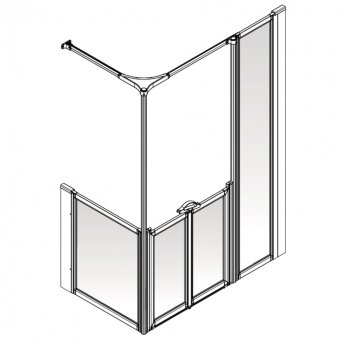 AKW Option Y 900 Shower Screen 1800mm x 820mm - Right Handed