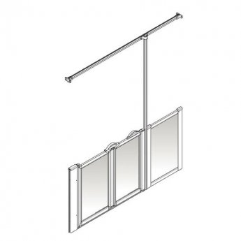 AKW Option Z 750 Shower Screen 1850mm Wide - Right Handed