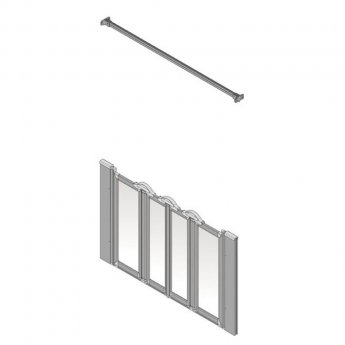 AKW Silverdale Clear Option NW 900 Wet Floor Shower Screen, 1300mm Wide, Non-Handed