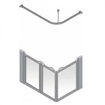 AKW Silverdale Frosted Option A 750 Shower Screen, 1300mm x 700mm, Left Handed