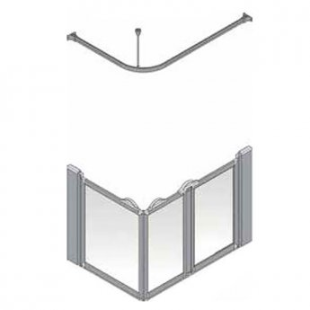 AKW Silverdale Frosted Option A 900 Shower Screen, 1000mm x 700mm, Right Handed