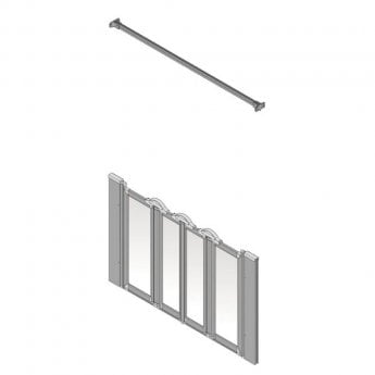 AKW Silverdale Frosted Option NW 900 Wet Floor Shower Screen, 1400mm Wide, Non-Handed