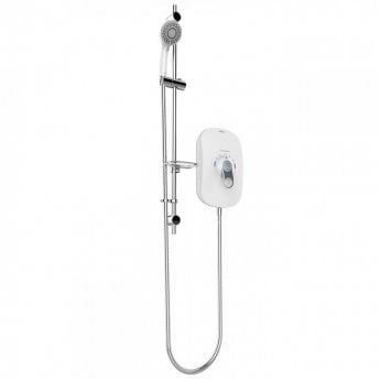 AKW SmartCare Lever White Electric Shower with Silver/White kit - 8.5kw