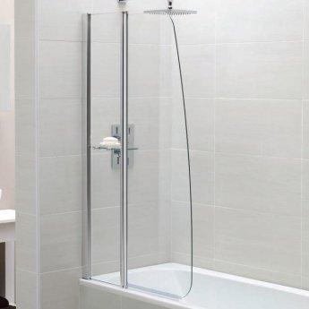 April Identiti2 Sail Bath Screen with Fixed Panel 1400mm High x 900mm Wide 6mm Glass