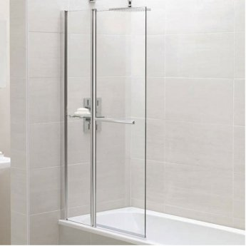 April Identiti2 Square Bath Screen with Fixed Panel and Towel Rail 1400mm H x 900mm W - 6mm Glass