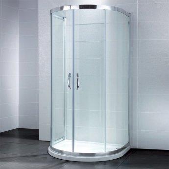 April Identiti2 U-Shaped Quadrant Shower Enclosure with Tray 915mm x 1040mm - 8mm Glass