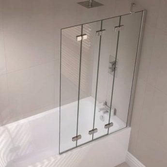 April Prestige Frameless 4-Panel Folding Bath Screen 1500mm High x 965mm Wide Right Handed