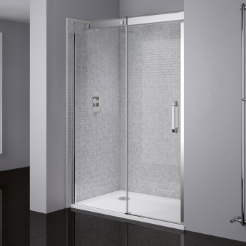 April Prestige Frameless Sliding Shower Door 1600mm Wide Left Handed - 8mm Clear Glass