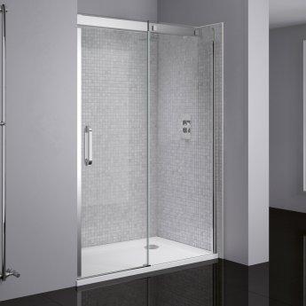 April Prestige Frameless Sliding Shower Door 1700mm Wide Right Handed - 8mm Clear Glass