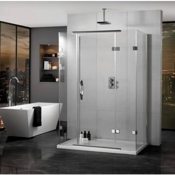 Aquadart Inline Hinged 3 Sided Shower Enclosure 900mm x 800mm - 8mm Glass