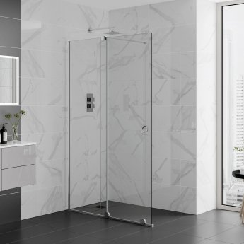 Aquadart Rolla 8 Sliding Shower Door 1500mm Wide - 8mm Glass Polished Silver Profile