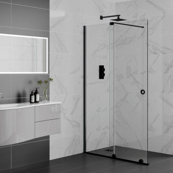 Aquadart Rolla 8 Sliding Shower Door 1600mm Wide - 8mm Glass Matt Black Profile