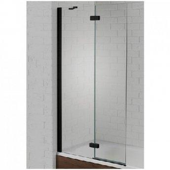 Aquadart Venturi 6 Black Frame Hinged Bath Screen 1500mm H x 900mm W Left Handed - 6mm Glass
