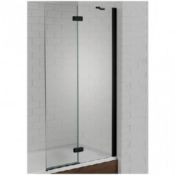 Aquadart Venturi 6 RH Black Frame Hinged Bath Screen 1500mm High x 900mm Wide - 6mm Glass