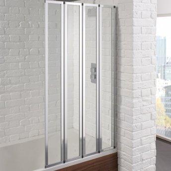 Aquadart Venturi 6 4-Folding Square Bath Screen 1400mm High x 800mm Wide - 4mm Glass