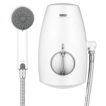 Aqualisa Aquastream Thermo Power Shower with Adjustable Head White / Chrome