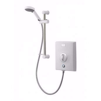 Aqualisa Quartz 8.5kW Electric Shower with Adjustable Height Head White / Chrome