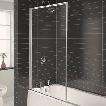 Aqualux AQUA 3 Framed Bath Screen, 750mm Wide, White Frame, Clear Glass