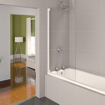 Aqualux AQUA 4 Half-Frame Bath Screen, 800mm Wide, Silver Frame, Clear Glass