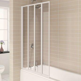 Aqualux AQUA 4 4-Fold Bath Screen, 840mm Wide, White Frame, Clear Glass