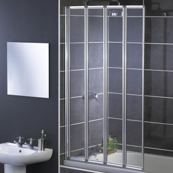 Aqualux AQUA 4 4-Fold Bath Screen, 840mm Wide, Silver Frame, Clear Glass
