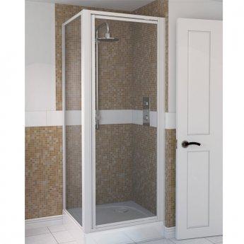 Aqualux AQUA 4 Pivot Shower Door 900mm Wide White Frame - Clear Glass