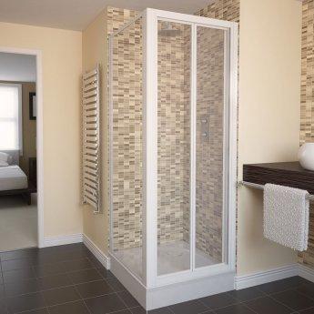 Aqualux AQUA 4 Bi-Fold Shower Door 800mm Wide White Frame - Clear Glass