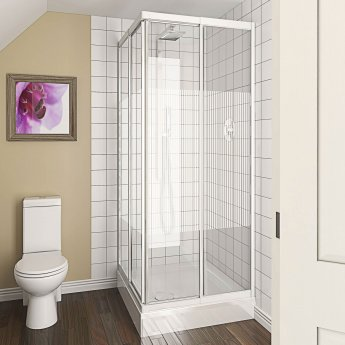 Aqualux AQUA 4 Telescopic Corner Entry Shower Enclosure 900mm x 900mm White Frame - Modesty Glass