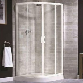 Aqualux AQUA 4 Quadrant Shower Enclosure 800mm x 800mm White Frame - Clear Glass