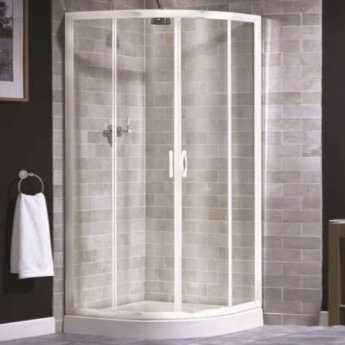 Aqualux AQUA 4 Quadrant Shower Enclosure 900mm x 900mm White Frame - Clear Glass