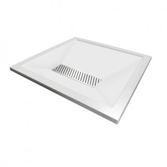Aqualux AQUA25 Definition Square Shower Tray with Waste 900mm x 900mm, Stone Resin