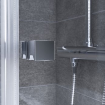 Aqualux AQX 6 Bi-Fold Shower Door 800mm Wide Silver Frame 6mm Glass