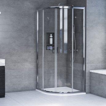 Aqualux AQX 6 Quadrant Shower Enclosure 900mm x 900mm Silver Frame 6mm Glass