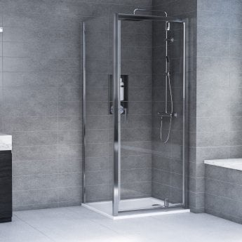 Aqualux AQX 6 Pivot Door Shower Enclosure 900mm x 900mm Silver Frame - 6mm Glass