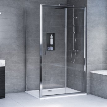 Aqualux AQX 6 Sliding Door Shower Enclosure 1000mm x 700mm Silver Frame - 6mm Glass