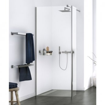 Aqualux Origin Walk-In Shower Panel with Splash Panel Kit 1000mm Wide - 8mm Clear Glass