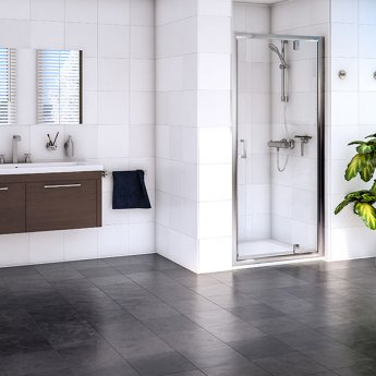 Aqualux Shine 6 Pivot Shower Door 800mm Wide Silver Frame - Clear Glass