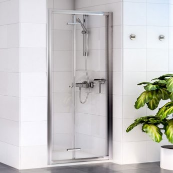 Aqualux Shine 6 Bi-Fold Shower Door 800mm Wide Silver Frame - Clear Glass