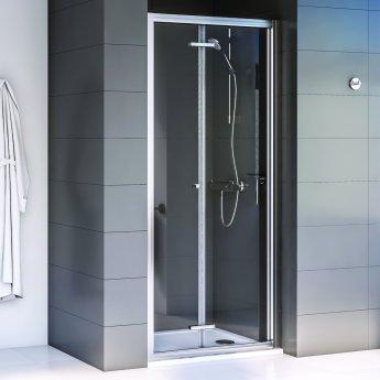 Aqualux Shine 6 Bi-Fold Shower Door 900mm Wide Silver Frame 6mm Glass