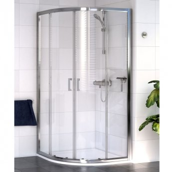 Aqualux Shine 6 Offset Quadrant Shower Enclosure 1200mm x 800mm Wide Silver Frame - Clear Glass